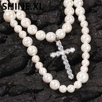Męskie Naturalne Pearl Naszyjnik Łańcuch Krzyż Głowice 8mm 10mm Koraliki Powłoki Wisiorek Hiphop Trendy Rock Jewelry