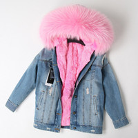 New arrival Real rabbit furs Liner removable denim Jacket La...