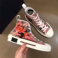 Scarpe di tela Low-top fondo piatto stampato casuale della scarpa da tennis traspirante Alta Moda-top Uomini E Donne Lace-up Trainer B23 Nuovi Designer Shoes