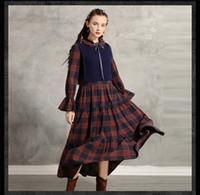 Kadın Kış Tasarımcı Retro Elbiseler 2PCS Ekose Sonbahar Moda Stil Bayan Giyim Bow Casual Giyim yazdır