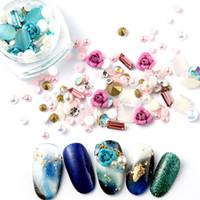 LEKGAVD 1Box 3D Rhinestones Mixta Gems DIY uñas de arte Rose de la decoración de la joyería Gel Glitter Nail Art Decoración del salón de Suministros