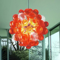 Pendentif en verre orange lumières modernes LED Chandeliers Chambre Meubles Art Deco en verre soufflé Lustre à bulle 30cm rond Ventilateur de plafond rond