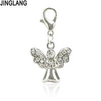 Jinglang anjo pingente encantos conector diy cristal bracelete colar para mulheres jóias fazendo encontrar