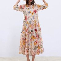 Donne in chiffon floreale Abiti Estate New Fashion Spaghetti Strap Fodera Due pezzi Modern Lady Dress Dress Feminino