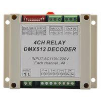 DMX-RELAY-4CH 4-канальный релейный контроллер dmx512, 4-канальный релейный выход, вход AC110-220V, пластиковый корпус, с направляющей шиной