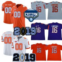 Clemson Tigers 20 Brian Dawkins 8 Justyn Ross AJ Terrell Jr. 92 Greg Huegel 2019 Meisterschaft Lila Weiß Orange Cotton Bowl College Jersey