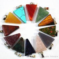 мода натуральный оникс кварцевый камень подвески подвески треугольник стрелка для изготовления ожерелья