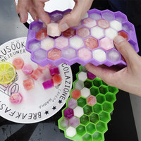 Moda 37 cubos de hielo congelado Hornet nido forma bandeja de hielo cubo molde de silicona fabricante Bar fiesta bebidas molde bandeja pudín herramienta con tapa T2I5825