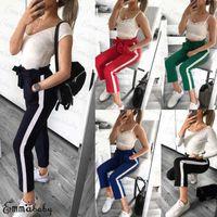 Nouveau Mode féminine taille haute Pantalon élastique extensible bowknot Cigaratte rayé Pantalon Drawstring femme Pantalons simple Taille 6-14