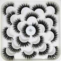 Neue 10 Paare Lotus Packung falsche Wimpern natürliche lange 3D synthetische faux Wimpern 10 Arten mit rot, gelb, Papier-Paket