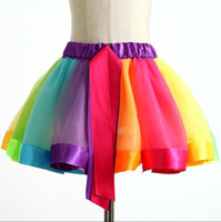 Hot sale rainbow skirt mesh yarn dance skirt girls half- leng...
