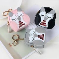 Hibou mignon petit sac femmes en cuir PU Porte-monnaie Mode Jelly Sac filles carte Coin pour les enfants Porte-monnaie porte-clés