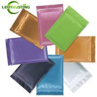 Leotrusting 100 unids / lote 8 Colores Bolsa De Aluminio Ziplock Bolsa de Fondo Plana Resellable Zip Mylar Bolsa de Almacenamiento de Alimentos Bolsa de Embalaje de Plástico Olor