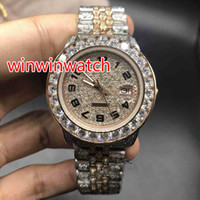 Full iced out two tone watch men' s automatic diamonds r...