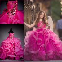 2020 아름 다운 공 가운 자홍색 여자 여자 미인 드레스 작은 아기 3d 꽃 여자 드레스 비즈 꽃 여자 드레스 사용자 정의 만든