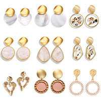 SI VOUS NOUVELLES boucles d'oreilles coréennes 2019 pour les femmes amoureux coeur rond Drop Dangle Fashion Earring Gold Big géométrique bijoux en gros