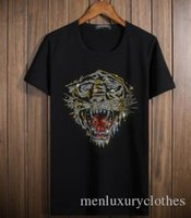 Rhinestone Tiger Patter Men Tshirts Fashion Tops Tshirt Shor...