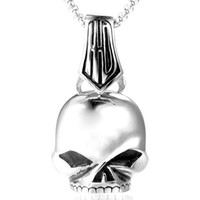 Punk StylNew Hip-hop Men 316L Stainless Steel Punk Skull Pendant Fashion Motorcyclist Rock Jewelry Necklace Accessories