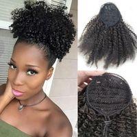 Afro Kinky Kıvırcık Kuyruğu Siyah Kadınlar Için Doğal Siyah Remy Saç 1 Parça Klip Ponytails Içinde Klip 100% İnsan Saç İpli