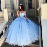 Sky Blue Ball Gown Cawn Quinceanera Abiti Sweet Heart Lace Up Back Appliques Abiti da appliques per Dolce 15 Vestidos de Quinceañera