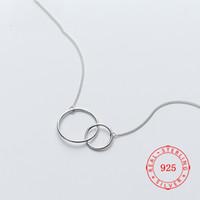 Prix usine 100% 925 Sterling Sterling Pendentif Collier Fashion Minimalisme Double cercle Bague Fine Bijoux Pour Femme Design Style Bijouterie