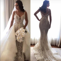 2019 Sexy Illusion Mermaid Wedding Dresses With Removable Tr...