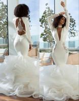 2019 Africa Bianco Deep V Collo Abito da sposa manica lunga Bckless Bckless Abiti da sposa Sexy Abito da sposa Appliqued Personalizzato