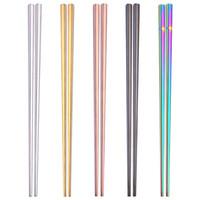 Novo Brilhante Titanium Banhado A Ouro de Alta qualidade Chopsticks, Chopsticks de Aço Inoxidável Colorido, Boa Qualidade de Ouro Arco-Íris Quadrado Chopsticks