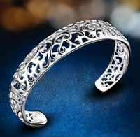 S925 Sterling Silver Plated Bracelet For Women Jewelry Retro Hollow Fashion Bangle Bracelets Party Wedding Gift Jfhpa