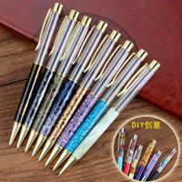 DIY 선물 펜 배럴 볼펜 마블링 모방 옥 일본 한국 인기있는 검은 색 푸른 색 잉크 WJ060 비우기