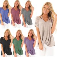 Schulter frauen shirts 13 Arten einfarbig batwing sleeve v ausschnitt sommer unregelmäßige cropp tops theme 10 stücke ljjo6947