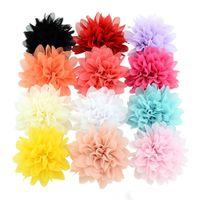 Bebé pinzas para el cabello 3.5 pulgadas niña gasa flores horquillas accesorios para el cabello Boutique flor de la cinta con el clip de moda para niños Barrettes