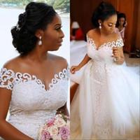 2020 Sexy afrikanische nigerianische Meerjungfrau Brautkleider mit abnehmbarer Zug volle Spitze Applique Sheer von der Schulter Kurzarm Brautkleider