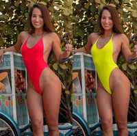 718e37e2837f6 New Arrival. Solid Color Sexy Bikini One Piece Swimsuit Halter Backless No  Pad Bathing Suit For Women Beach Swim Gym Hot Spring ...