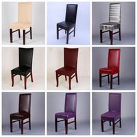 Chaise en cuir imperméable Couverture PU en cuir à manger Housse de chaise Spandex élastique extensible décoration de mariage LXL984-1 Housse