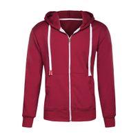 Men's Hooded Sweatshirt Plus Size Long sleeve Pure Color Zipper Pullover Hooded Sweatshirt Tops Moletom Masculino Com Capuz Y6