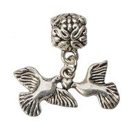 سحر مجوهرات صالح أساور القلائد DIY يتدلى الطيور حمامة اليدوية الجديدة معدن الفضة العتيقة بالجملة كرافت اكسسوارات 100pcs التي