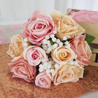 9 heads lot Silk Rose Artificial Flowers for Decoration Rose...