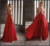 2019 Nouvelles Robes De Bal Rouge Avec Jupe Amovible Satin De Mode Combinaison Demi-Manches Longues Cocktail Dress Party Custom Made Robes De Soirée