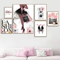 Cartel de moda Mujeres Perchumes Maquillaje Lienzo Arte Imprimir Labios Sexy Pinturas Tacones Altos Posters Pink Flower Wall Pictures Decoración del hogar