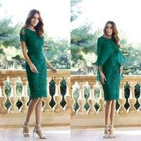 재킷 레이스 applique 짧은 소매 무릎 길이 어머니 드레스 웨딩 게스트 가운의 세련된 어두운 녹색 어머니
