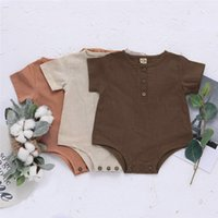 Summer Toddler Baby Boys Girls Romper Linen Organic Cotton S...