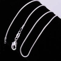 Venta al por mayor 1 mm cadenas de serpientes plateadas tres tamaños 16 pulgadas 18 pulgadas 20 pulgadas de buena calidad jaulas de perlas colgantes collar cadenas