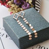 المجوهرات titaiunm الأقراط الصلب الفولاذ المقاوم للصدأ إبرة شرابة صغيرة مربعة الأقراط رقاقة تتدلى للنساء