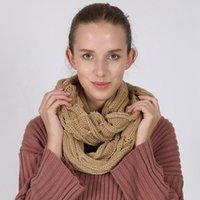 Зимний шарф 140 * 35см Окружность петля шарф Женщина Wrap шарфы 10 цветов Толстой теплых шарфы шея LJJO7345