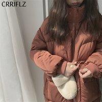 Женщины Parkas Crriflz Женские зимние куртки зимние Куртки с короткими теплыми сгущающимися Паркой Мода Большой карманный джекш Дезагин