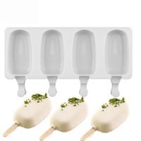 Muffa di gelato in silicone a 4 fori con 10sticks popsicle insapore di ghiaccio di ghiaccio in silicone stampo in silicone colore bianco