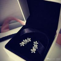 جديد 925 فضة تشيكوسلوفاكيا الماس الزهور مربط القرط المربع الأصلي مجموعة ل باندورا 925 سنو أقراط النساء الفتيات هدية مجوهرات