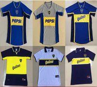 98 99 2001 2002 Boca Junior Retro Soccer Jersey Maradona 빈티지 Veron Caniggia 1997 1998 Maglia Classic 2000 2001 축구 셔츠