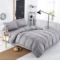 Conjuntos de ropa de cama Simple Color Lago Azul Rayado Hoja de cama DUVER CUBIERTA CUBIERTA Funda de almohada Soft Silver Gray King Queen Full Twin